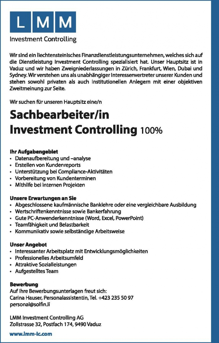 Sachbearbeiter/in Investment Controlling 100%